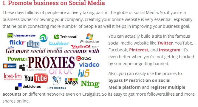 proxies for Social Media